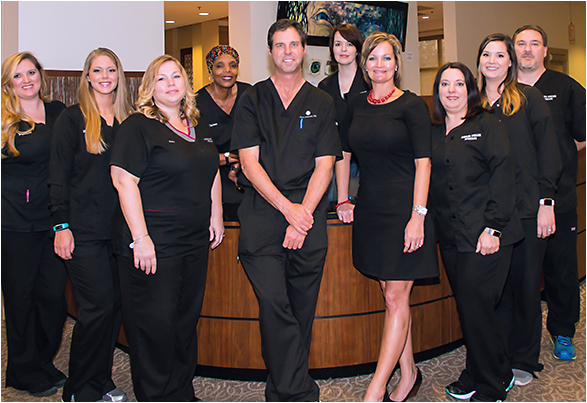 Team Solomon (from left): Parker Bellamy, surgery coordinator and patient educator; Briana Wiggins, ophthalmic assistant; Kim Camus, surgical coordinator and patient educator; Clarissa Harps, COT, lead LASIK technician; Dr. Kerry Solomon; Nikki Weas, ophthalmic technician and certified scribe; Crissy Justice, director of operations; Lisa McKay, ophthalmic assistant and certified scribe; Kristen Simpson, LASIK patient service specialist; and Todd Marine, COT