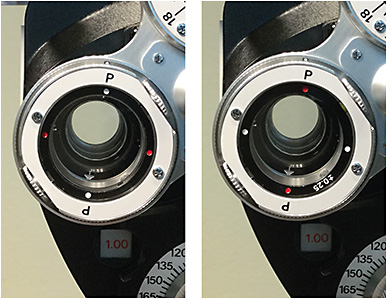 Figure 1. Left: White dot setting: -0.25 +0.50 X 80. Right: Red dot setting: +0.25 -0.50 X 80.