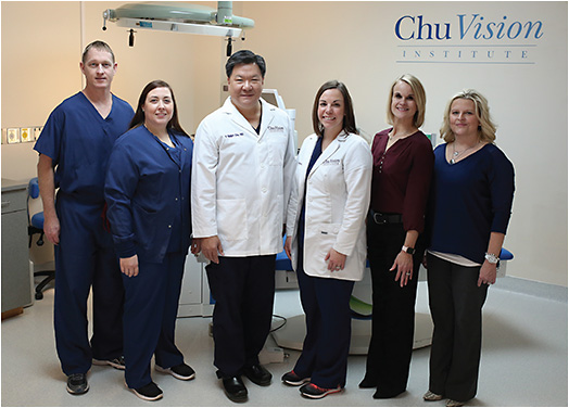 Chu Vision Institute leadership team (left to right): Nic Jacobs, COA, OSA, CRC, VP of clinical research; Vanessa Novak, RN, clinical director; Y. Ralph Chu, MD; CEO, medical director; Jessica Heckman, OD, director of clinical affairs; Carrie Jacobs, COE, CPSS, OCS, practice administrator; Shari West, CPSS, director of refractive services.