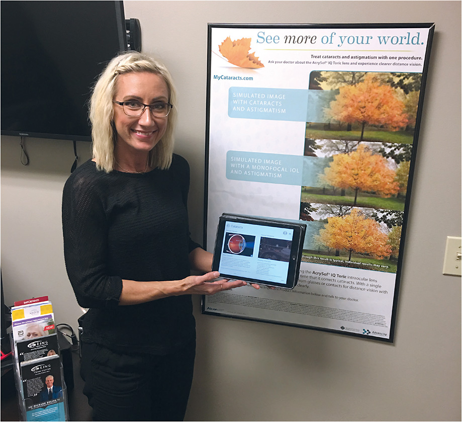 Boling Vision Center staff member Katie Okeley educates patients and sets up a customized patient portal.