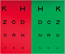 The duochrome test is a half-red, half-green chart designed to assist with a patient's final sphere adjustment.