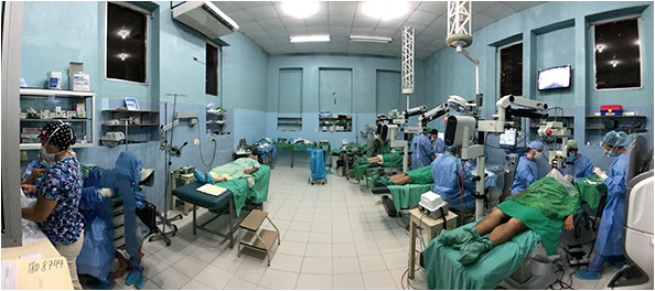 The surgeons in training served nearly 400 patients each day.